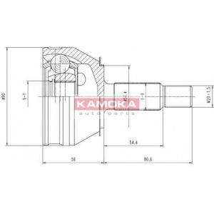 KAMOKA 6190 Шарнирный комплект, приводной вал