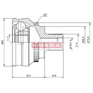 KAMOKA 6584 ШРУС Audi 80/90/100/200/A6 наружн. 38/25/60мм /45 ABS