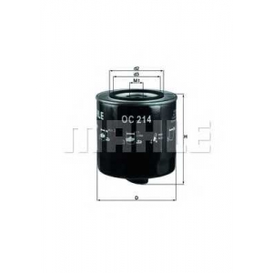 Масляный фильтр oc214 mahle - AUDI 100 (44, 44Q, C3) седан 2.0 D Turbo