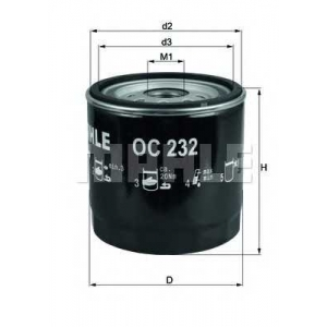 Масляный фильтр oc232 mahle - FORD TRANSIT автобус (V_ _) автобус 2.5 D (VAS, VBL, VIL, VUL, VZS)