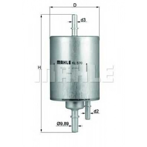 MAHLE FILTER KL 570 Фильтр топливный двигателя (прямоточный)