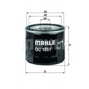 MAHLE FILTERS OC1051 Фільтр масляний Mahle FORD/MAZDA/VOLVO