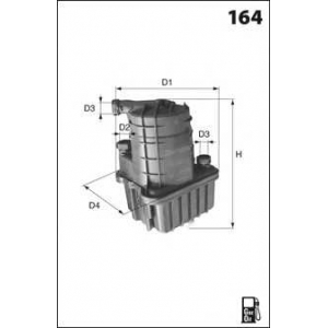 MECAFILTER ELG5348 Фильтр топливный (с датчиком) Clio3/Modus K9K