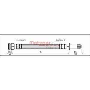METZGER 4114800 Шланг гальмівний
