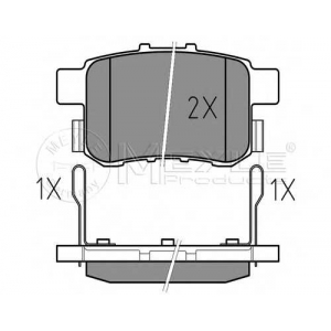 Комплект тормозных колодок, дисковый тормоз 0252443514w meyle - HONDA ACCORD IX (CU) седан 2.0 i