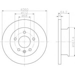 MINTEX MDC912 MINTEX   Диск торм.передн.вентил.(260мм) T4