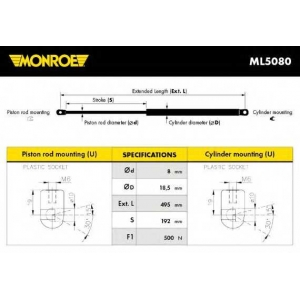 MONROE ML5080 Gas spring
