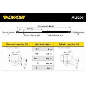 MONROE ML5309 Амортизатор капота MERCEDES E-CLASS (пр-во Monroe)