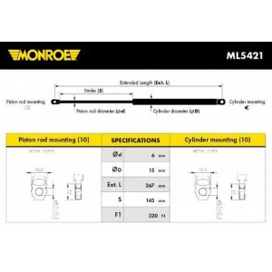 MONROE ML5421 Амортизатор капота BMW 3 (пр-во Monroe)