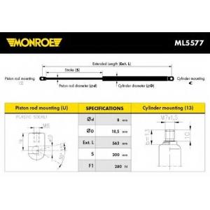 MONROE ML5577 Амортизатор капота MERCEDES-BENZ (пр-во Monroe)