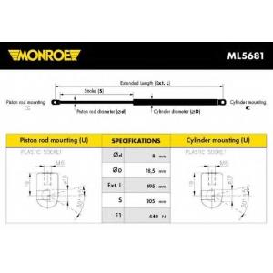 MONROE ML5681 Амортизатор багажника