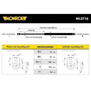 MONROE ML5716 Амортизатор багажника