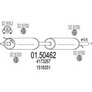 MTS 01.50462 Средняя часть выхлопной системы (Резонатор)