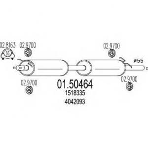 MTS 01.50464 Средняя часть выхлопной системы (Резонатор)