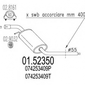 MTS 01.52350 Средняя часть выхлопной системы (Резонатор)