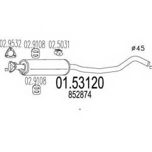 MTS 01.53120 Средняя часть выхлопной системы (Резонатор)
