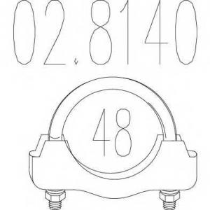MTS 02.8140 Хомут выхлопной системы U-образный (М10, Диаметр 48 мм)
