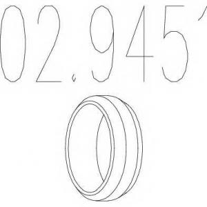 MTS 02.9451 Монтажное кольцо выхлопной системы ( D(внутр.) - 55,6 мм; D(наружн.) - 69,5 мм; Высота - 12,8 мм)