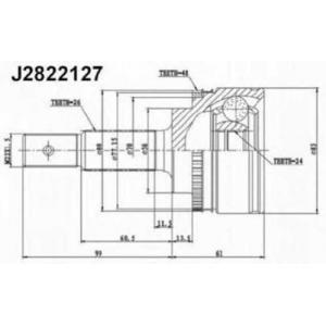 NIPPARTS J2822127 Шарнир приводного вала (ШРУС), к-кт.