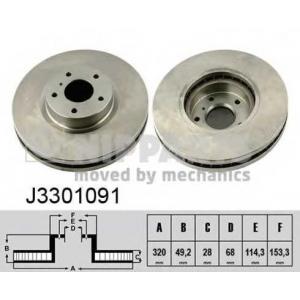 Тормозной диск j3301091 nipparts - NISSAN MURANO (Z50) вездеход закрытый 3.5 4x4