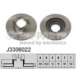 NIPPARTS J3306022 Тормозной диск Дайхатсу