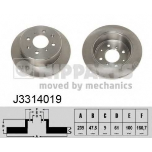 j3314019 nipparts Тормозной диск HONDA CIVIC седан 1.6 i 16V (ED4)