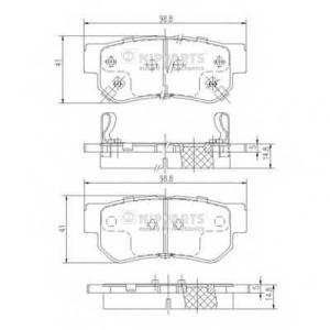 Комплект тормозных колодок, дисковый тормоз j3610509 nipparts - HYUNDAI SONATA IV (EF) седан 2.5 V6 24V