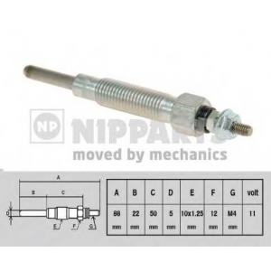 NIPPARTS J5711009 Свічка накалу