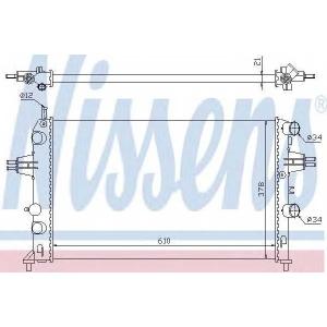 Радиатор, охлаждение двигател 63091 nissens - OPEL ASTRA G Наклонная задняя часть (F48_, F08_) Наклонная задняя часть 1.2 16V
