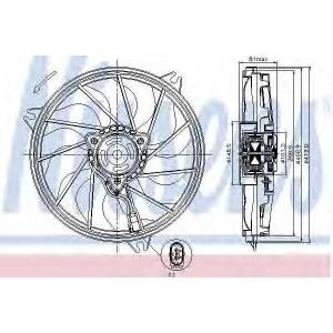 Вентилятор, охлаждение двигателя 85607 nissens - PEUGEOT 206 Наклонная задняя часть (2A/C) Наклонная задняя часть 1.1 i