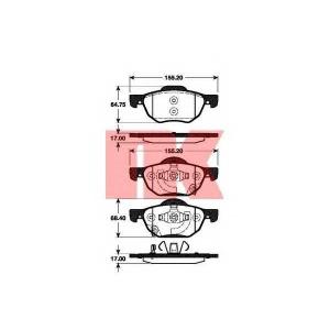 Комплект тормозных колодок, дисковый тормоз 222636 nk - HONDA ACCORD VIII (CL_, CM_) седан 2.0 (CL7)