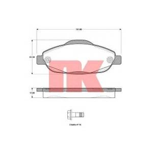 Комплект тормозных колодок, дисковый тормоз 223747 nk - PEUGEOT 308 SW универсал 1.6 HDi