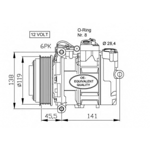 NRF 32053 Компресор кондиціонера DB C W202 93-01, E W210 93-03, G W463 96-, ML W163 98-05, S W140 91-98, SLK R170 96-04, Sprinter 95-02, V W638 96-0