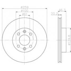 PAGID 52821 Тормозной диск передний