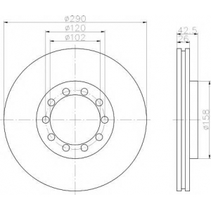 PAGID 59175 Тормозной диск передний