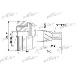 PATRON PCV2253 Шрус внутренний 34x35x25 opel zafira a 2,0 dti 99-05, astra f 91-98, calibra a 90-97, vectra a 88-9
