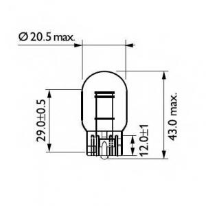 Лампа накаливания T20 12V 21/5W W3x16d (пр-во Magn 12066cp philips -
