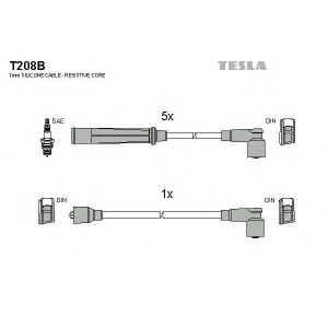TESLA T208B Кабель зажигания, к-кт TESLA Audi 100 80-84 1,9;2,0;2,1GT;2,2
