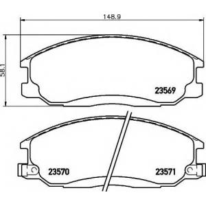 Комплект тормозных колодок, дисковый тормоз 2356901 textar - HYUNDAI SANTA F? I (SM) вездеход закрытый 2.7 4x4