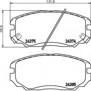 Комплект тормозных колодок, дисковый тормоз 2437501 textar - HYUNDAI SONATA V (NF) седан 2.4