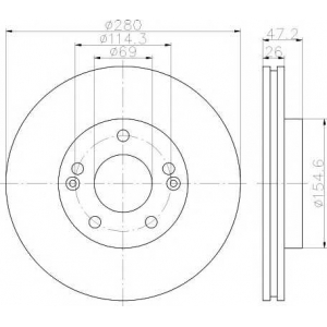 Тормозной диск 92161603 textar - HYUNDAI i30 (GD) Наклонная задняя часть 1.4