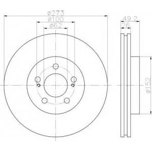 Тормозной диск 92163700 textar - TOYOTA AURIS VAN фургон (NDE15_) фургон 1.4 D-4D