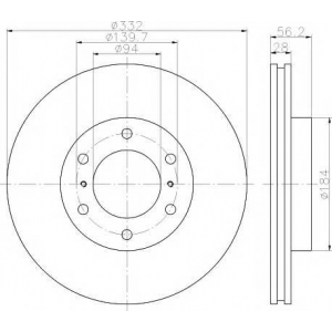 92167203 textar Тормозной диск MITSUBISHI PAJERO вездеход закрытый 3.2 DI-D 4WD (V98W)