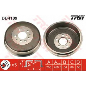 TRW DB4189 Тормозной барабан