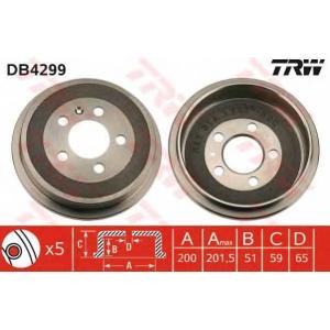 TRW DB4299 Гальмівний барабан SKODA/VW Fabia/Polo \R \97>>
