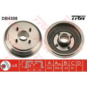 TRW DB4308 Тормозной барабан