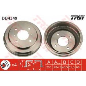Тормозной барабан db4349 trw - NISSAN ALMERA II (N16) седан 1.5