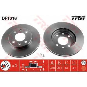 TRW DF1016 Диск тормозной RENAULT KANGOO, MEGANE передн., вент. (пр-во TRW)
