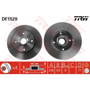 TRW DF1529 Диск тормозной VW GOLF IV, POLO задн. (пр-во TRW)