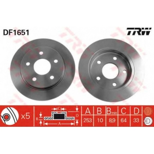TRW DF1651 Диск тормозной FORD SCORPIO задн. (пр-во TRW)